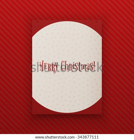 Merry Chistmas paper Banner hanging against red Background. Realistic vector Poster Template - stock vector