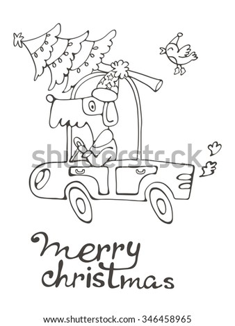 Merry Christmas. Amazing card with cute dog in Santas costume driving with Cristmas tree. vector illustration - stock vector