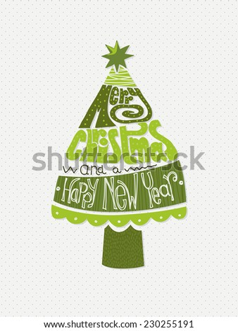 Merry Christmas and a Happy New Year hand lettering in a Christmas tree on polka dot pattern background