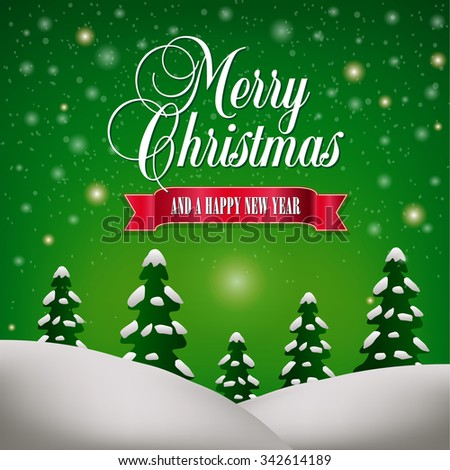 Merry Christmas and a Happy New Year Landscape - stock vector