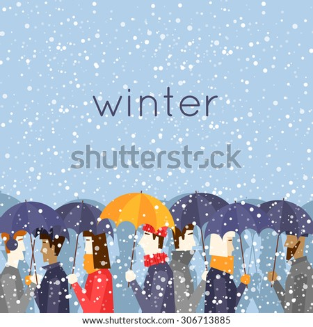 Merry christmas and a happy new year People with umbrellas snowing. Flat design vector illustration. - stock vector