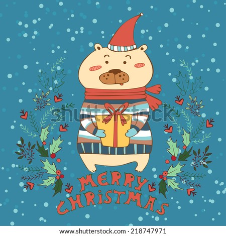 Merry Christmas and a Happy New-Year's greeting vector card. Vector illustration with bear in hat and a gift. - stock vector