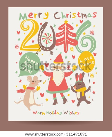 Merry Christmas and Happy Holidays card - stock vector