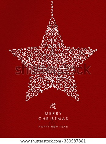 Merry christmas and happy new year art deco star decoration shape made in outline monogram style with simple xmas ornaments. Ideal for holiday card, poster, or party invitation. EPS10 vector. - stock vector