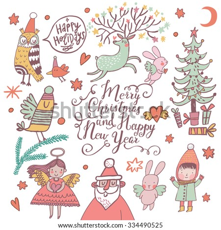 Merry Christmas and happy New Year awesome card in vector. Stylish holiday background with Santa, reindeer, angel, girl, owl, rabbits and birds with fir tree, stars and hearts in vector