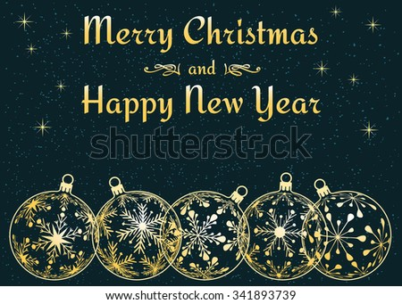 Merry Christmas and Happy New Year background, holiday greeting card with dark cyan background, golden christmas balls at sky or snow background, vector illustration - stock vector