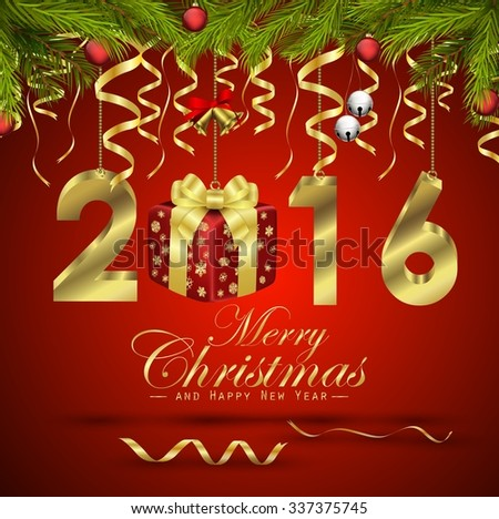Merry Christmas and Happy New Year background .vector - stock vector