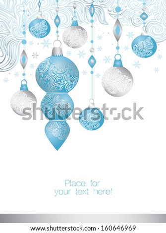 Merry Christmas and Happy New Year Background with balls - stock vector