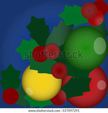 Merry Christmas and Happy New Year background with baubles and snowflakes. Template for greeting or postcard, vector illustration. New Year and Christmas concept. Universal vector background - stock vector