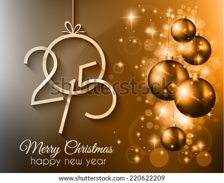 Merry Christmas and Happy New Year Background with holiday themed design elements and background. - stock vector