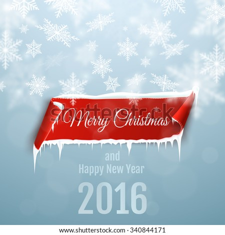 Merry Christmas and Happy New Year 2016 background with red curved paper banner, snow and icicles.  - stock vector