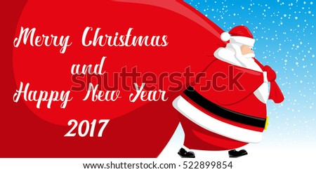 merry christmas and happy new year 2017 banner cute santa claus with big red bag