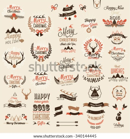 Merry Christmas and Happy New Year calligraphic and Typographic Background - stock vector