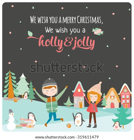 Merry Christmas and Happy New 2016 Year Calligraphic and Typographic Wish with Happy Smiling Jumping Kids, Penguins and Gifts from Santa on Winter Background. Cute holiday illustration in vector.  - stock vector