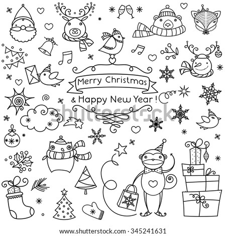 Merry Christmas And Happy New Year calligraphic framed handmade sign. Christmas decoration set - labels, emblems, winter symbols, cute animal cartoons and other various decorative design elements. - stock vector