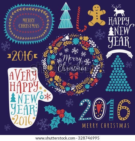 Merry Christmas And Happy New Year Calligraphic, mitten, wreath, frames, 2016 handmade sign. Christmas set - labels, emblems and other decorative elements.