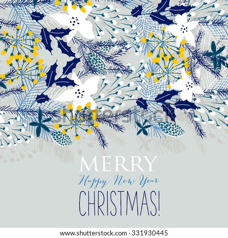Merry Christmas and Happy New Year Card - stock vector