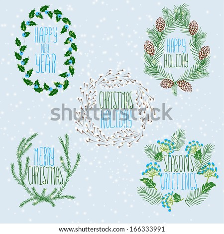 Merry Christmas and Happy New Year Card. Christmas Wreath. - stock vector