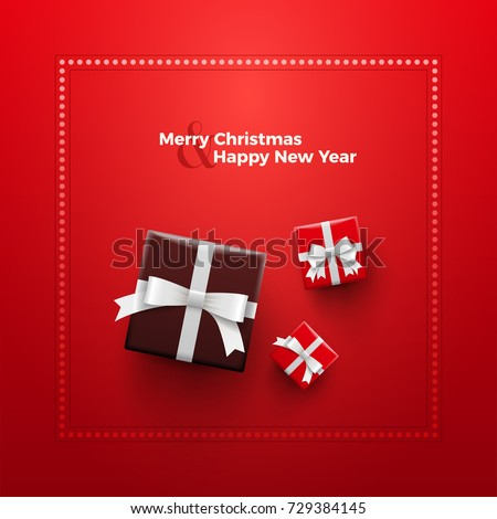 Merry Christmas and Happy New Year Card design. Red gift boxes with dotted frame on red background.