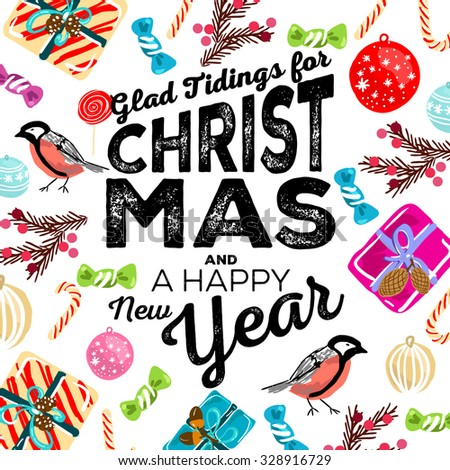 Merry Christmas and Happy New Year Card 'Glad Tidings for Christmas and a Happy New Year' - stock vector
