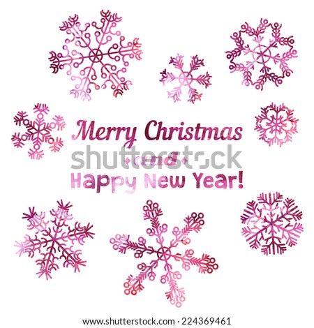 Merry Christmas and Happy New Year card. Set of beautiful vector snowflake made by traced watercolor splatter.  - stock vector