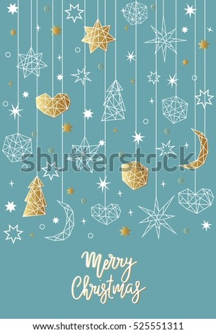 Merry Christmas and Happy New Year card template in geometric style. Holiday composition with star, heart, moon, ball, noel. Greeting card, invitation, flyer, banner, background.