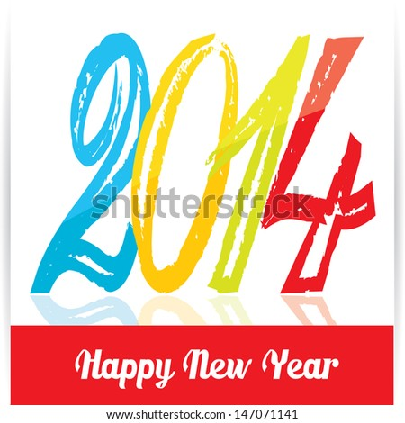 Merry Christmas and Happy New Year 2014 Card. vector illustration. - stock vector