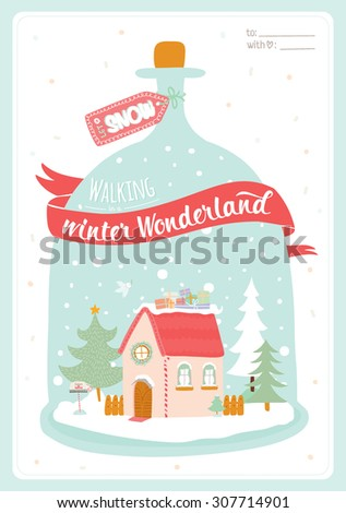 Merry Christmas and Happy New Year Card with Calligraphic and Typographic Wish and Illustration of glass ball with cute house, trees and snow on White Background. Greeting hand drawn holidays card. - stock vector