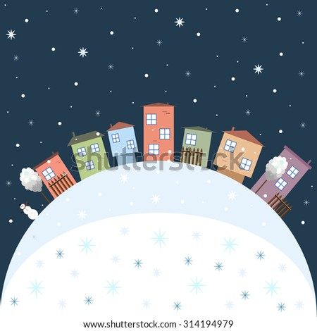 Merry Christmas And Happy New Year 2016 Card With Colorful Houses - stock vector