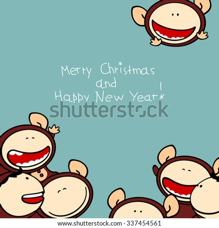 Merry Christmas and Happy New Year 2016 card with cute naughty Monkeys - stock vector