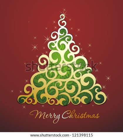 Merry Christmas and Happy New Year card with decorative tree - stock vector