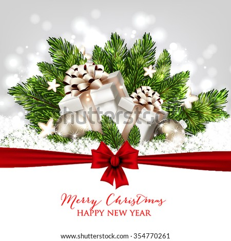 Merry Christmas and Happy New Year Card with gift box. Christmas Party Invitation - stock vector