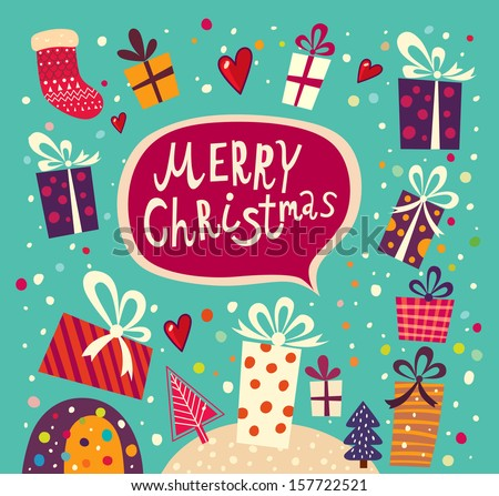 Merry Christmas and Happy New Year card with gift boxes - stock vector