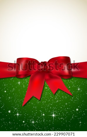 Merry Christmas and Happy New Year card with green background, red bow and shiny stars - place for your text. Vector illustration. - stock vector