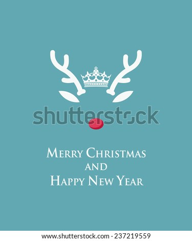 Merry Christmas and Happy New Year card with Rudolph reindeer template - vector illustration - stock vector