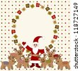 Merry Christmas and Happy New Year Card with Santa and deers - stock vector