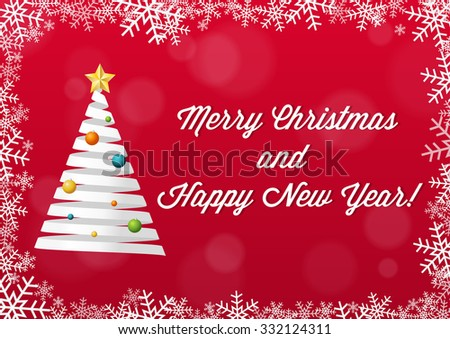 Merry Christmas and Happy New Year card with snowflake border, red background with bokeh effect and Christmas tree made of white ribbon - stock vector