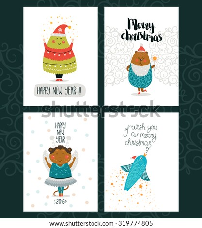 Merry Christmas and Happy New year cards with cute animals, bear, monkey, tree, bird and Typographic Wish. Set of cute Greeting cards on white backgrounds - stock vector