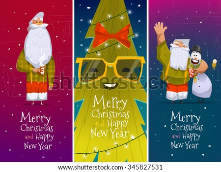 Merry Christmas and Happy New Year cards with Santa Claus - stock vector