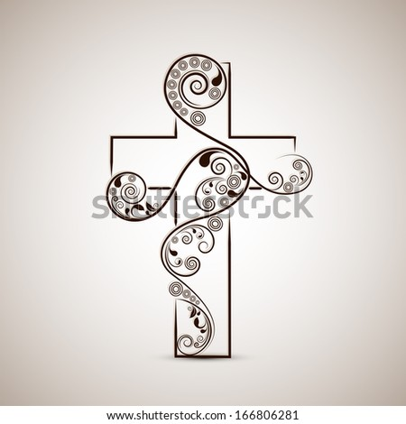 Merry Christmas and Happy New Year 2014 celebration concept with stylish Christian Cross on abstract background.  - stock vector