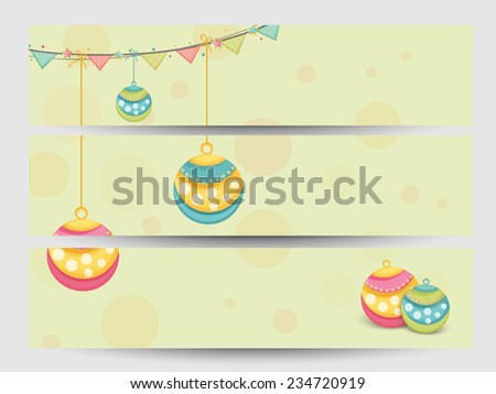 Merry Christmas and Happy New Year 2015 celebration website header or banner set. - stock vector