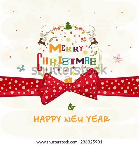 Merry Christmas and Happy New Year celebrations greeting card design decorated with X-mas ornaments and red ribbon on stylish background. - stock vector