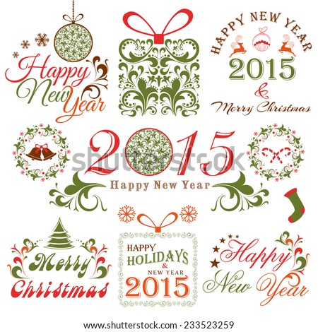 Merry Christmas and Happy New Year celebrations with X-mas ornaments decorated by floral design. - stock vector