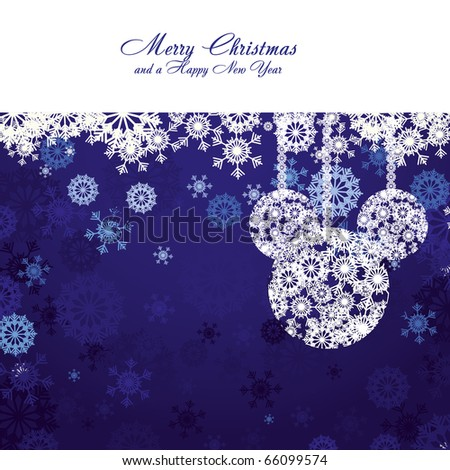 Merry Christmas and Happy New Year! Christmas card with snowflakes and christmas decorations on blue background, vector illustration - stock vector