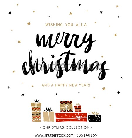 Merry Christmas and Happy New Year. Christmas greeting card with calligraphy. Handwritten modern brush lettering. Hand drawn design elements. - stock vector