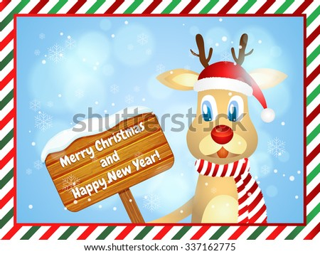 Merry Christmas and Happy New Year. Christmas greeting card with cute reindeer holding wooden merry christmas sign - stock vector