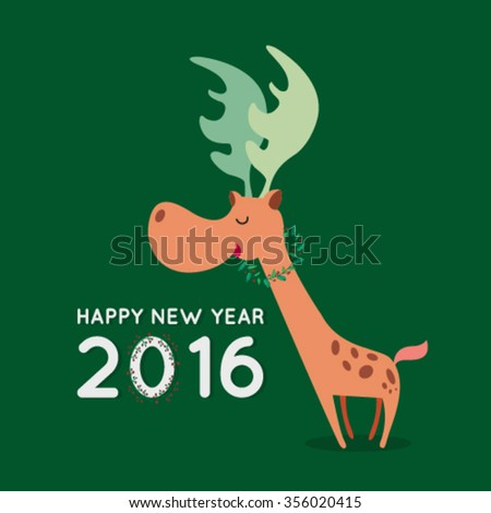 Merry Christmas and Happy New year 2016. Christmas reindeer with lights. - stock vector