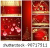 Merry Christmas and Happy New Year collection gold and red - stock vector