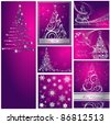 Merry Christmas and Happy New Year collection silver and violet - stock vector