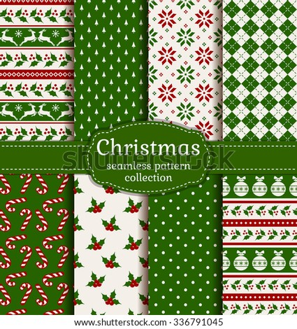 Merry Christmas and Happy New Year! Colorful seamless backgrounds with holiday symbols and patterns: tree ball, reindeer, holly, candy cane, argyle, polka dot and norwegian selbu rose. Vector set. - stock vector
